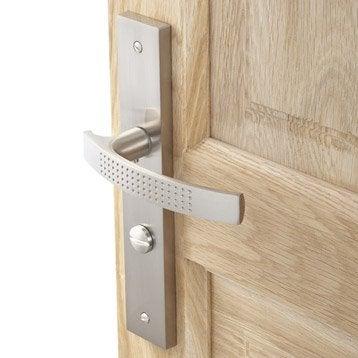 2 poignées de porte Louna condamnation/décondamnation, aluminium satiné, 195 mm