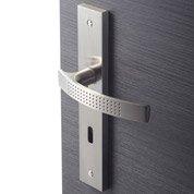 Lot de 2 poignées de porte Louna trou de clé, aluminium satiné, 195 mm