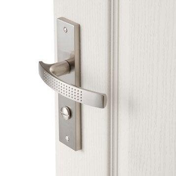 2 poignées de porte Louna condamnation/décondamnation, aluminium satiné, 165 mm