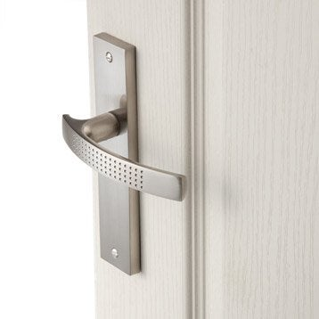 Lot de 2 poignées de porte Louna sans trou, aluminium satiné, 165 mm