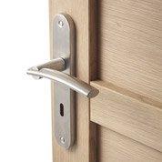 Lot de 2 poignées de porte Marion trou de clé, acier inoxydable satiné, 195 mm