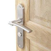 2 poignées de porte Marion condamnation/décondamnation, acier inoxydable, 195 mm