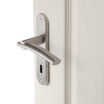 Lot de 2 poignées de porte Marion trou de clé, acier inoxydable satiné, 165 mm