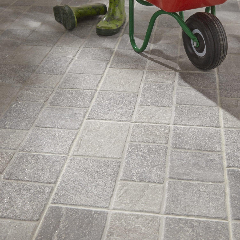 Carrelage sol gris effet pierre pav x cm for Plinthes carrelage exterieur