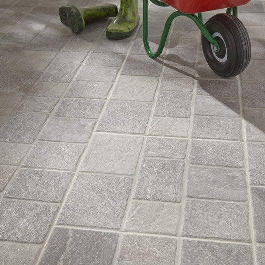 Carrelage sol gris effet pierre pav x cm for Carrelage exterieur 40x40