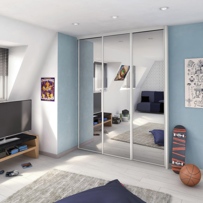 Porte De Placard Coulissante Miroir Argent SPACEO L X H Cm - Porte placard coulissante avec porte vitrée bois interieur