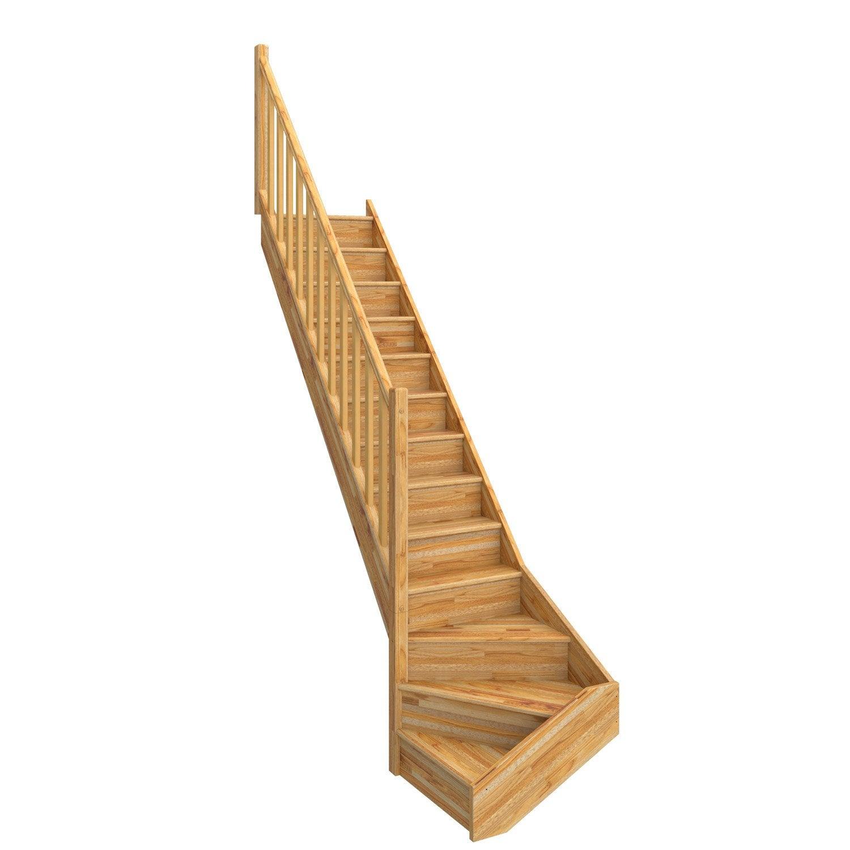 Escalier Quart Tournant Bas Gauche Deva Bois Lamell Coll Leroy  ~ Escalier Bois Quart Tournant Gauche