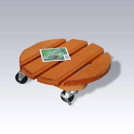 Support pot avec roulette rond bois