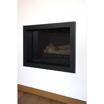 Cadre d'habillage de cheminée support en métal, EQUATION, Laqué noir sablé mask