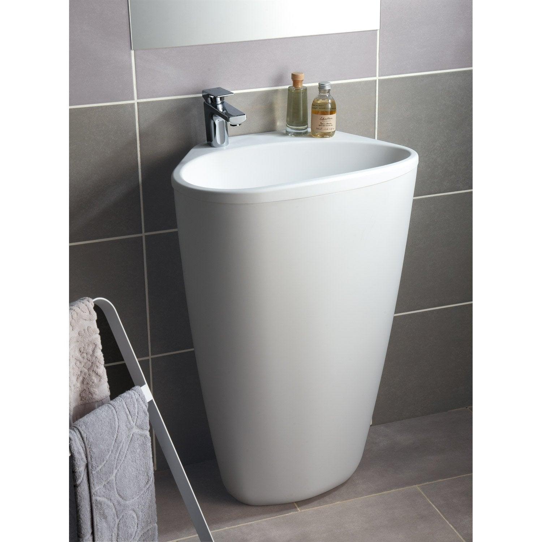 Lavabo Colonne En Résine Et Marbre Blanc Stori Leroy Merlin - Travaux salle de bain leroy merlin