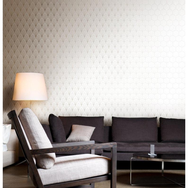 Papier peint vinyle Motif Geo blanc/or | Leroy Merlin