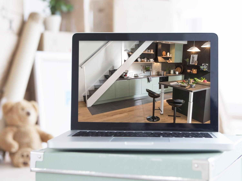 Meuble de cuisine d cor bois delinia nordik leroy merlin for Concevoir cuisine en ligne