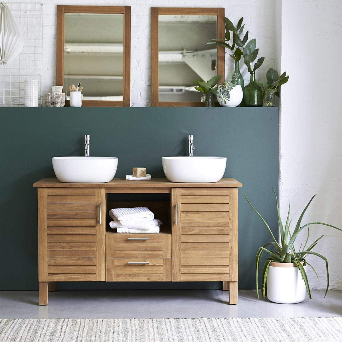 Meuble double vasque l.16 x H.16 x P.16 cm, teck, Soho