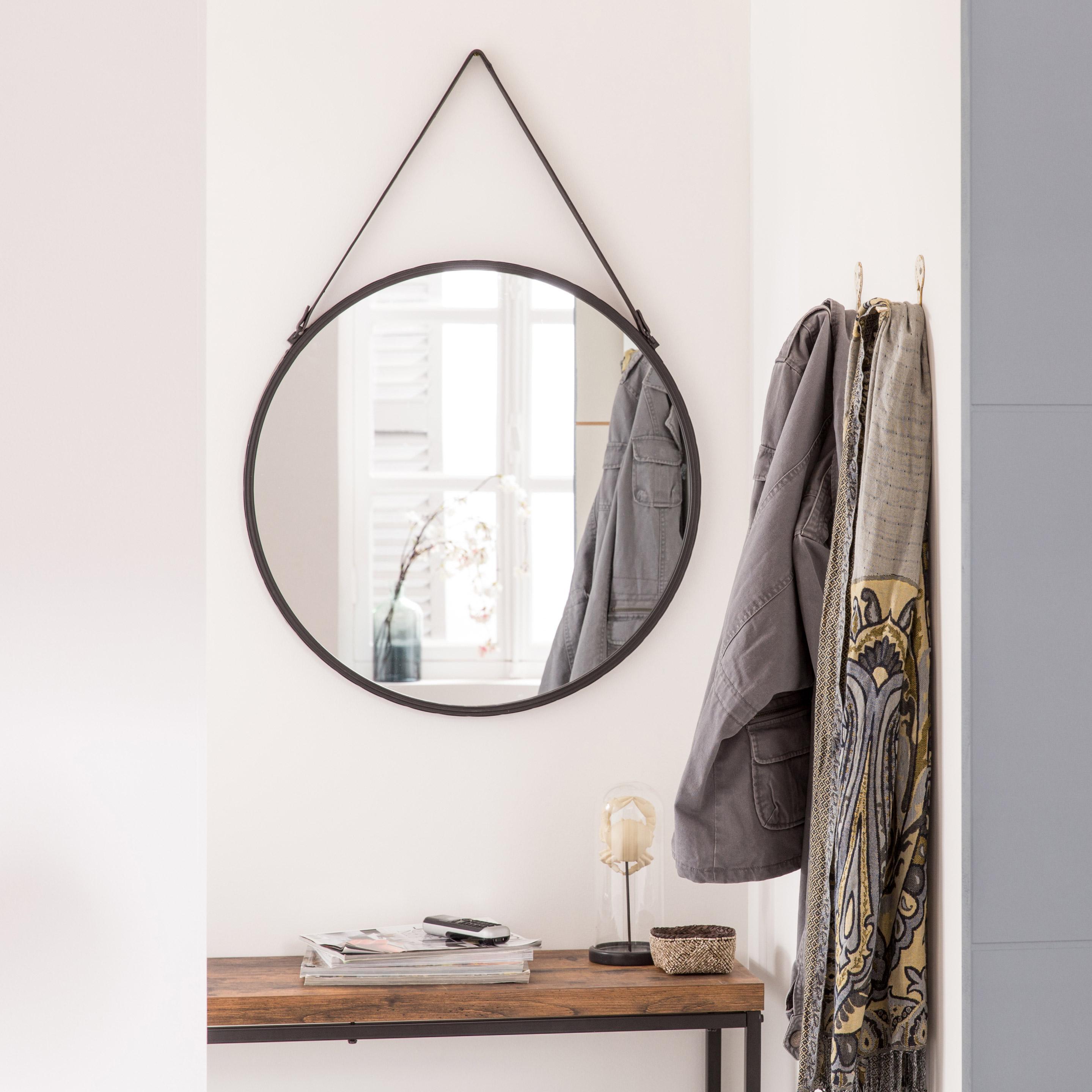 Miroir rond Barbier, noir diam.55 cm