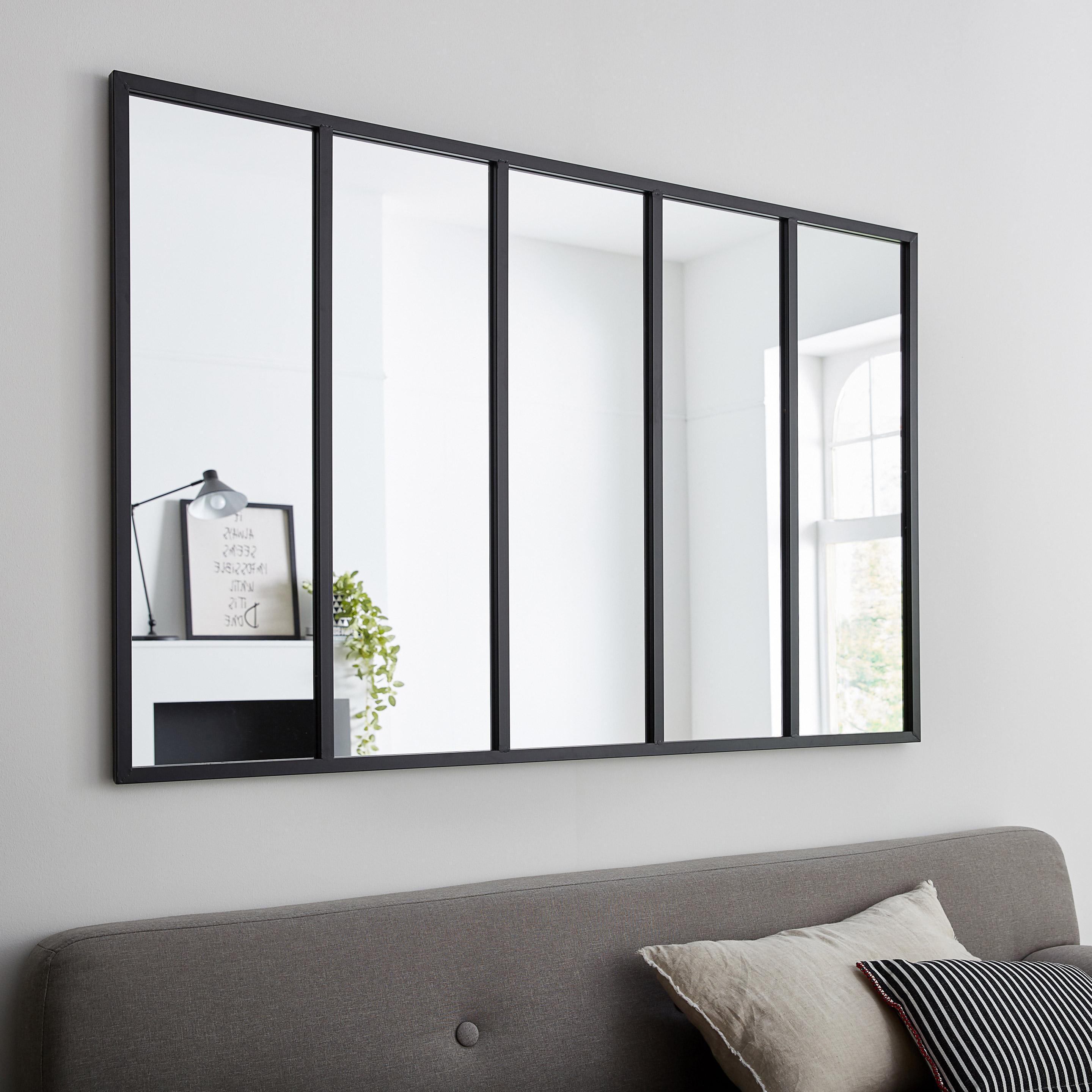 Miroir rectangulaire Atelier, noir, l.140 x H.90 cm