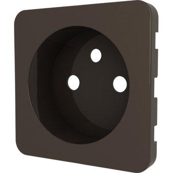 Cache pour prise avec terre lexman brun chocolat n 1 - Cache pour prise electrique ...