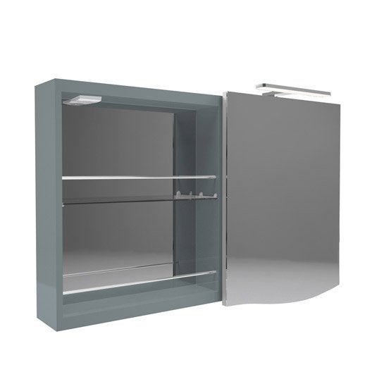 armoire de toilette lumineuse l 100 cm bleu decotec elegance leroy merlin. Black Bedroom Furniture Sets. Home Design Ideas