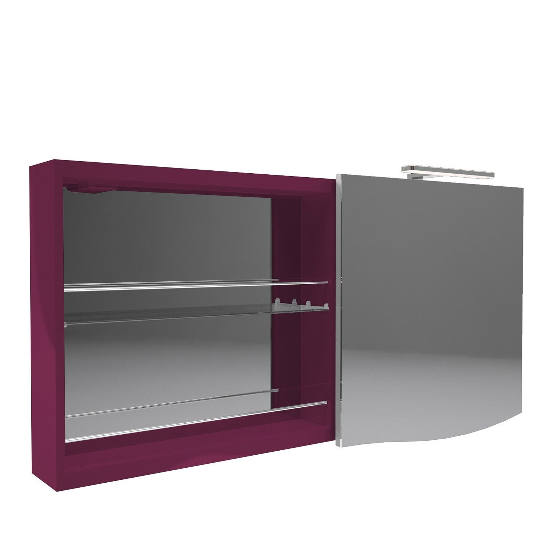 armoire de toilette lumineuse l 130 cm aubergine. Black Bedroom Furniture Sets. Home Design Ideas