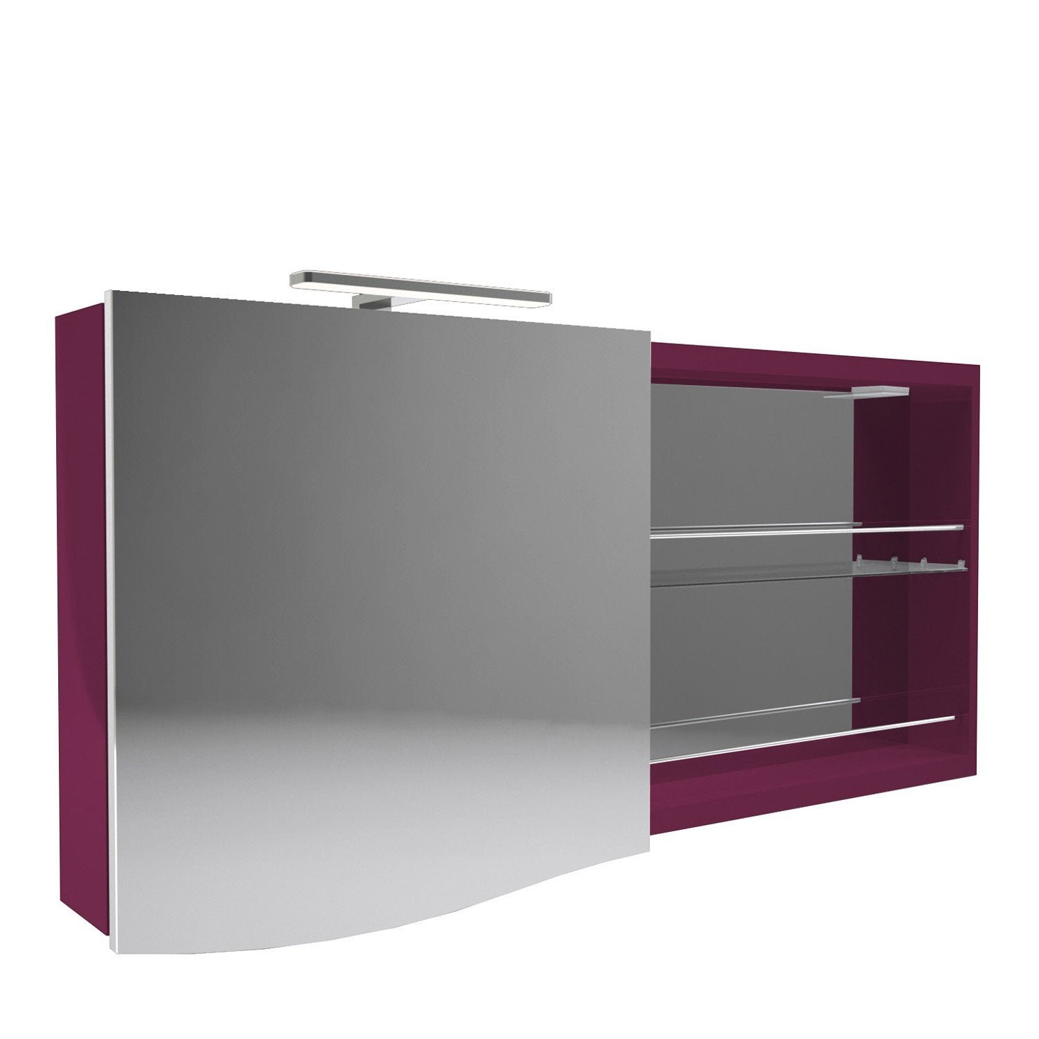armoire de toilette lumineuse l 130 cm aubergine decotec elegance leroy merlin. Black Bedroom Furniture Sets. Home Design Ideas
