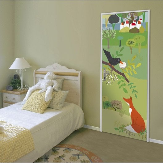 sticker porte le corbeau et le renard 83 cm x 204 cm leroy merlin. Black Bedroom Furniture Sets. Home Design Ideas
