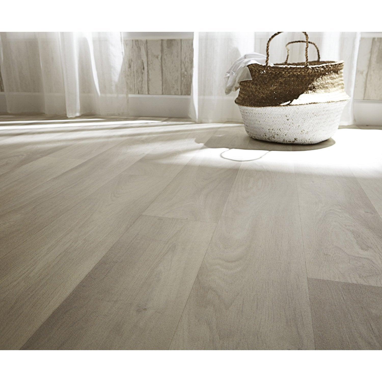 sol pvc bois blanchi lames blanches zen l.4 m | leroy merlin