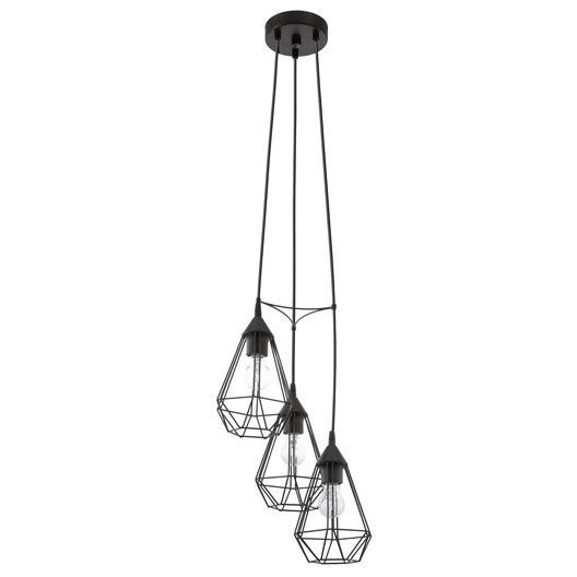 Suspension e27 style industriel tarbes m tal noir 3 x 60 for Suspension metal noir