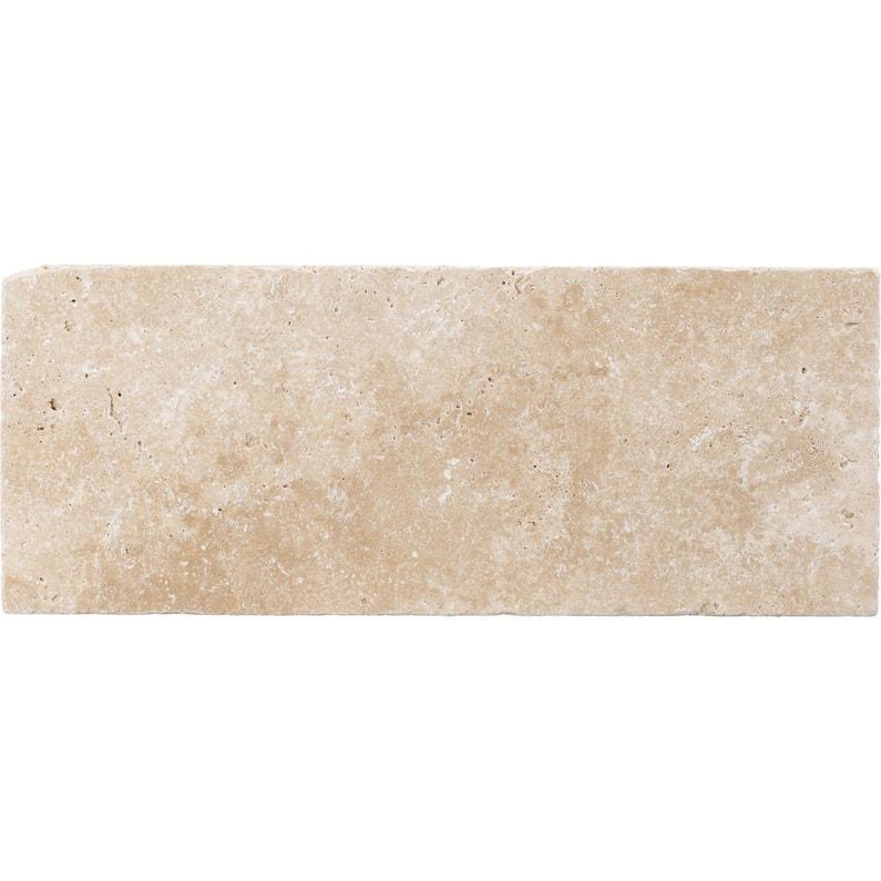 Carrelage mur et sol pierre ivoire mat l.20 x L.50 cm, Travertin