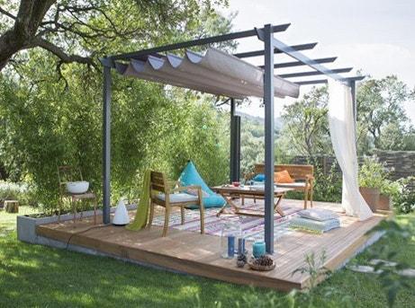Tout savoir sur les tonnelles tentes et voiles d 39 ombrage leroy merlin - Toile de terrasse leroy merlin ...