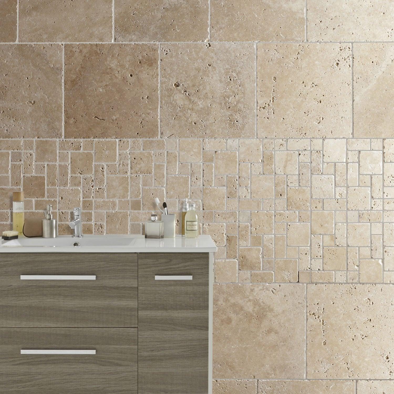 Travertin sol et mur beige effet pierre Travertin l.40.6 x L.40.6 ...