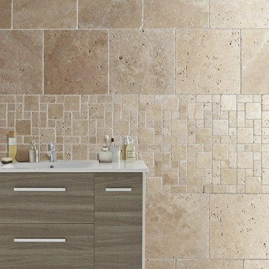 travertin sol et mur beige effet pierre travertin x. Black Bedroom Furniture Sets. Home Design Ideas
