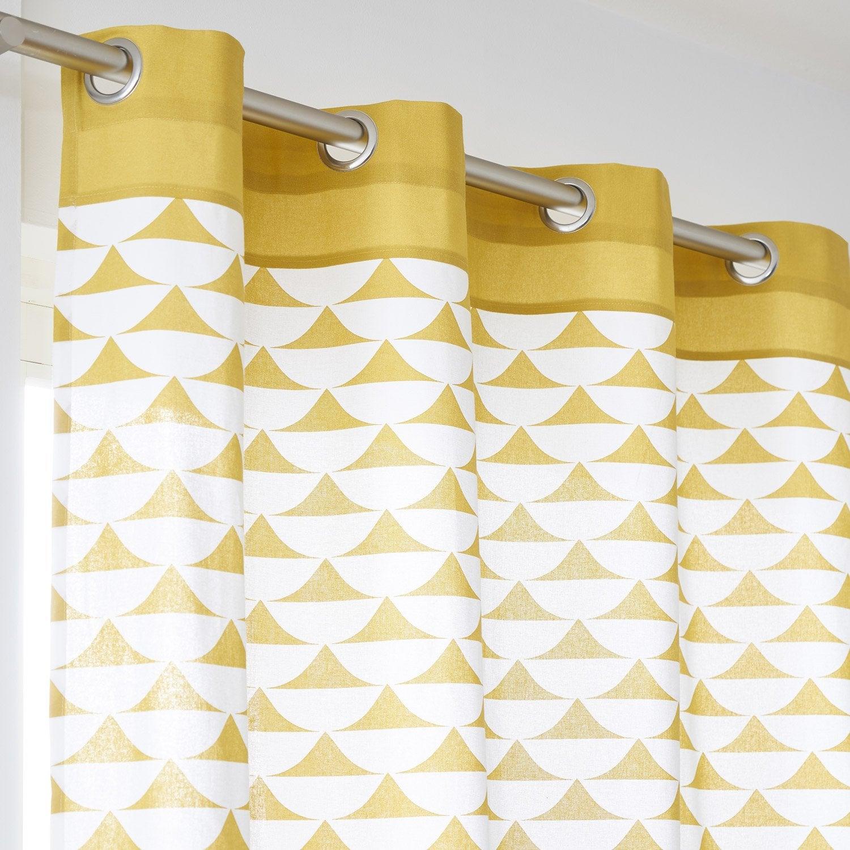 Rideau tamisant, coton, Gabi moutarde l.140 x H.260 cm