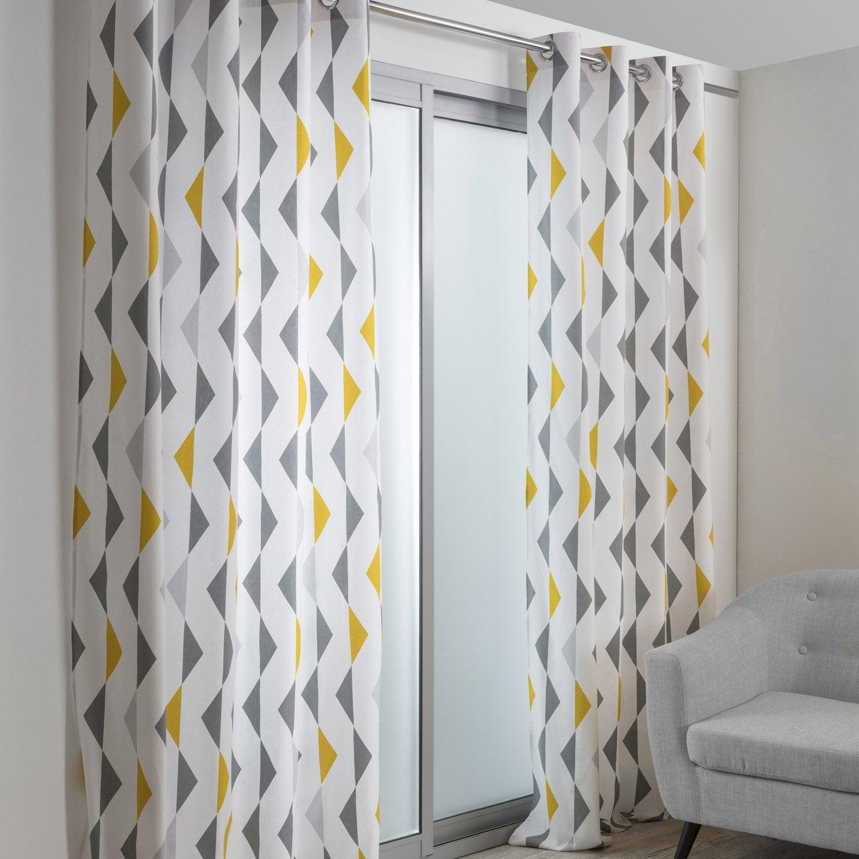 rideau tamisant kelly gris et jaune 140x250 cm rideau. Black Bedroom Furniture Sets. Home Design Ideas