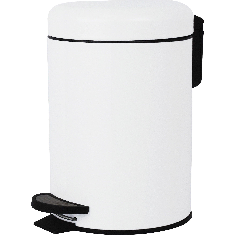 Poubelle de salle de bains 3 l white n°0 SENSEA Pop