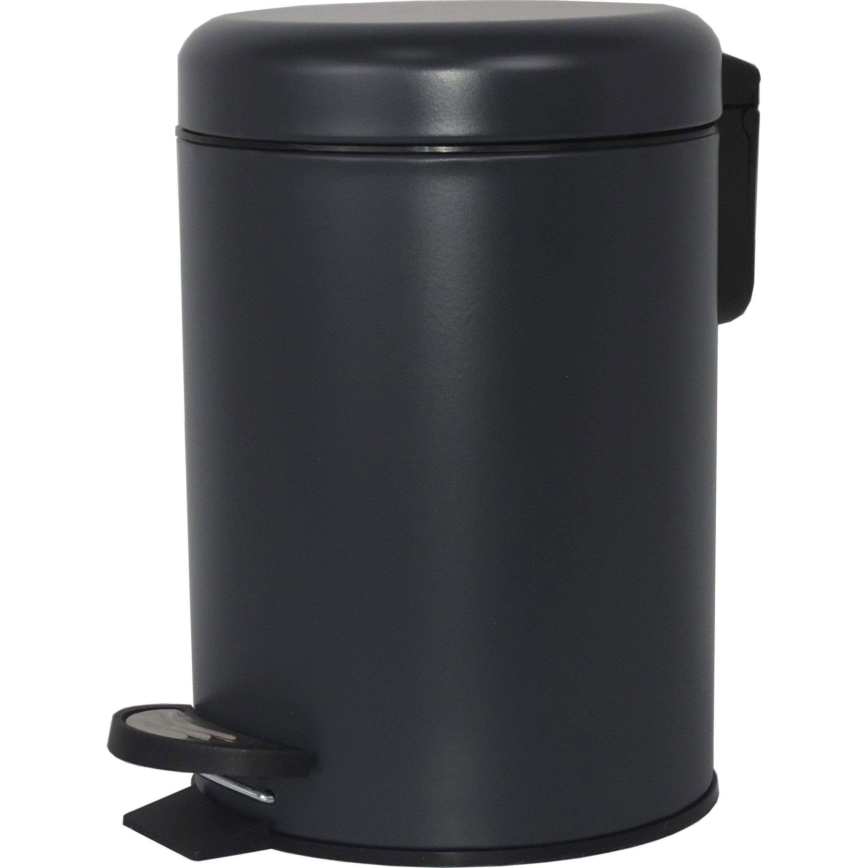 Poubelle de salle de bains 3 l black n°0 SENSEA Pop