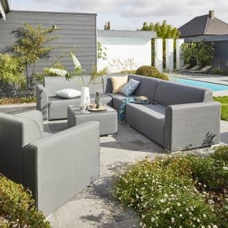 Salon bas de jardin Barbados aluminium gris, 5 personnes | Leroy Merlin
