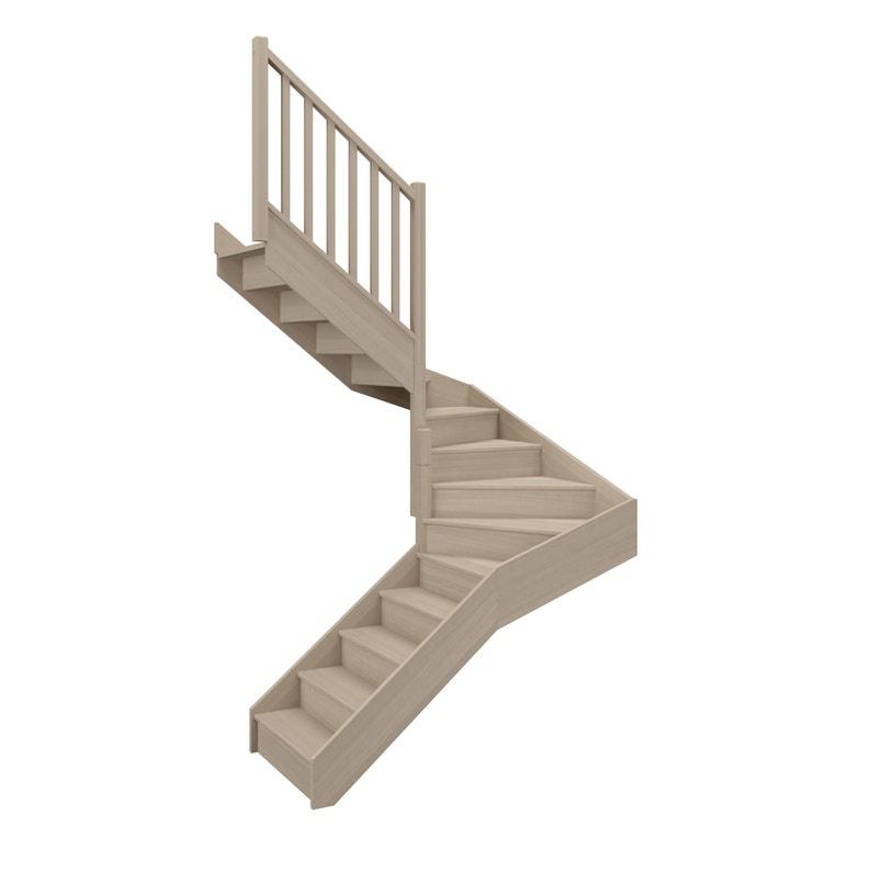 Escalier 2 4 Tournant Gauche Bois Hêtre Soft Classic 14 Mar Hêtre L 88 1