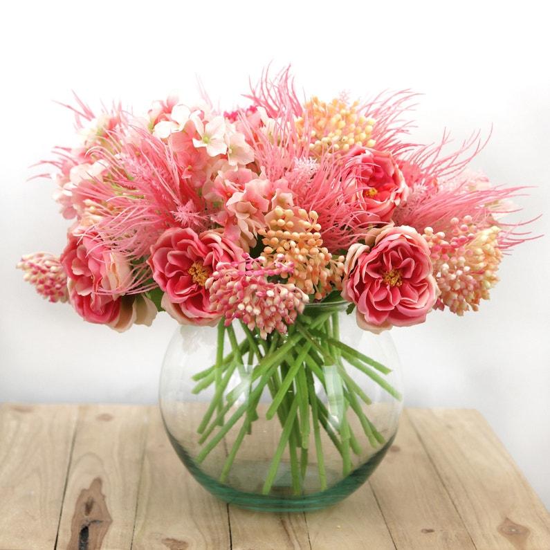 Bouquet De Fleurs Artificielles De 36 Tiges Champêtres Roses Et Blanches H25