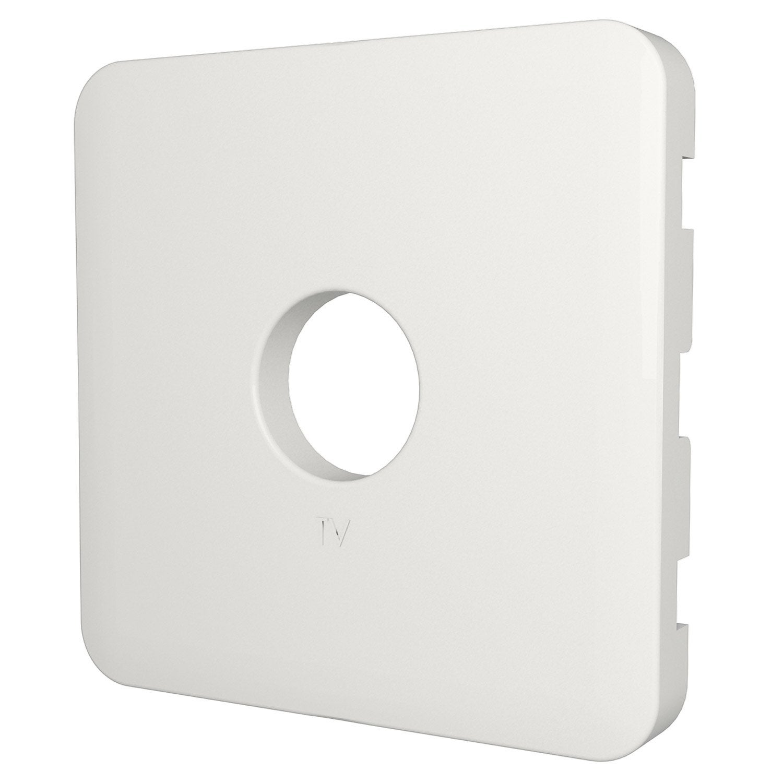 Cache Prise Tv Prise Tv Type F Cosy Lexman Blanc Blanc N 0 Mat  # Cache Tv Electrique