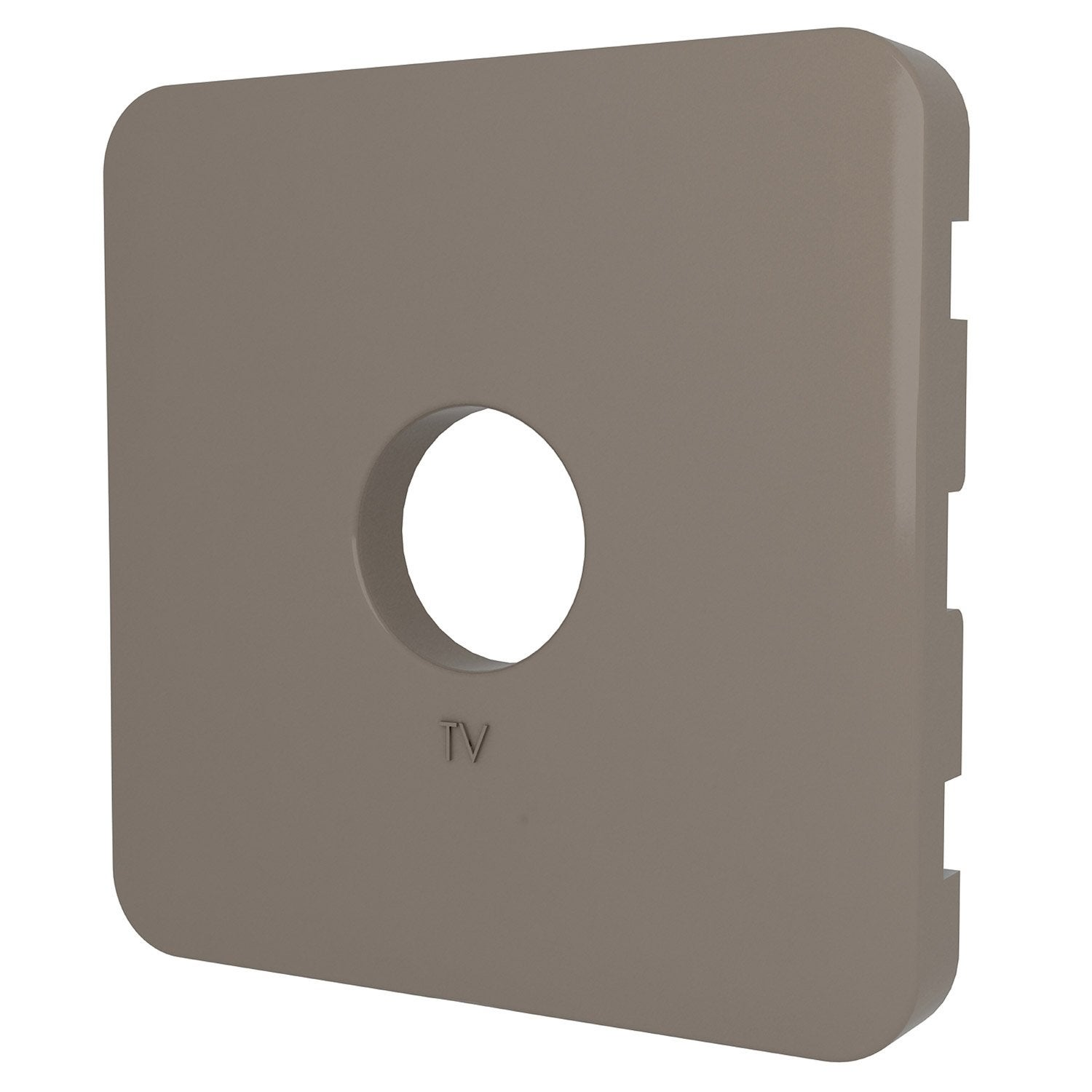 cache prise tv, prise tv type f cosy, lexman brun taupe n°3 mat