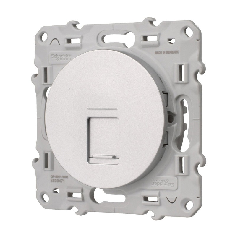 Prise Rj45 Odace Schneider Electric Gris Aluminium