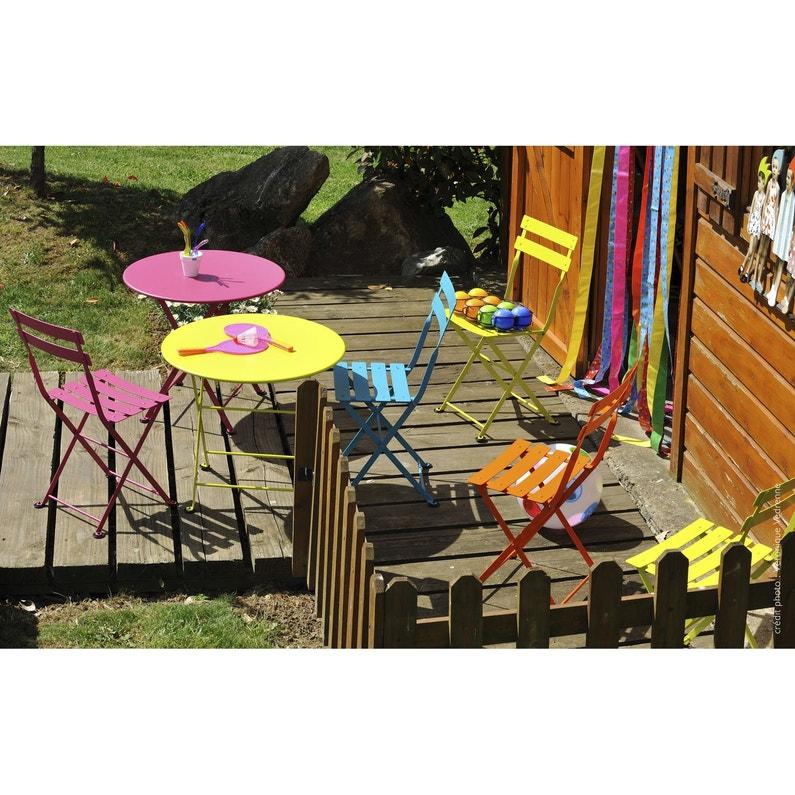 Table de jardin pour enfants FERMOB Tom pouce ronde verveine 2 ...