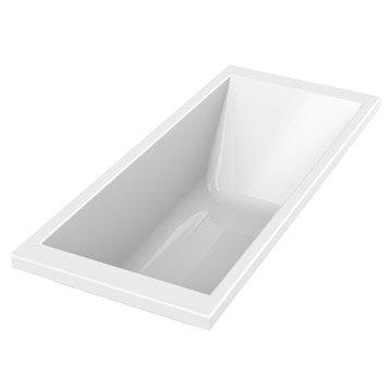 Baignoire rectangulaire L.175x l.75 cm blanc, SENSEA Premium design