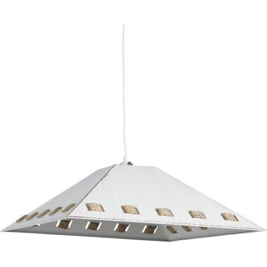 Suspension nature zeno m tal blanc 1 x 60 w metropolight for Suspension nature