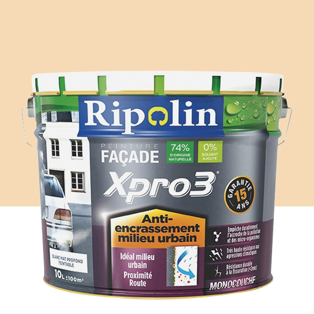 peinture fa ade murs encrass s xpro3 ripolin ton pierre 10 l leroy merlin. Black Bedroom Furniture Sets. Home Design Ideas