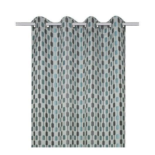 Rideau Diabolo, gris/bleu, l.140 x H.260 cm INSPIRE