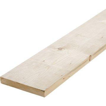 Planche sapin petits noeuds raboté, 28 x 196 mm, L.2.4 m