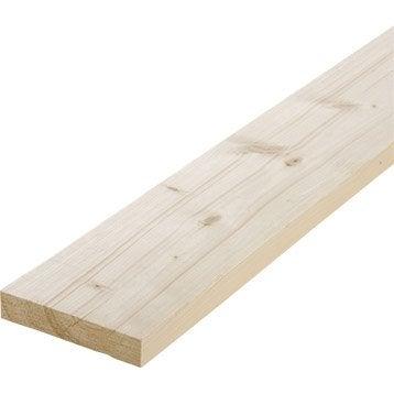 Planche sapin petits noeuds raboté, 28 x 146 mm, L.2.4 m