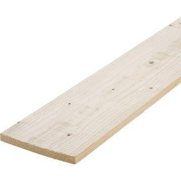 Planche sapin petits noeuds raboté, 18 x 196 mm, L.2.4 m