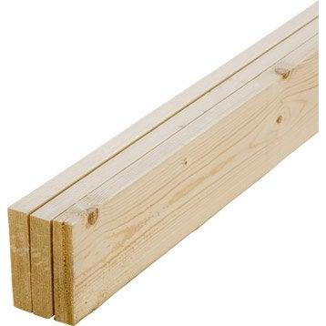 Lot de 3 planches sapin petits noeuds raboté, 22 x 100 mm, L.1.8 m