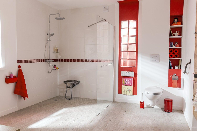 Salle De Bain Blanche Et Rouge ~ une douche xxl leroy merlin
